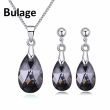 Bulage Trendy Original Crystals From Swarovski Jewelry Sets Mini Water Drop Pendant Necklaces Earrings For Women Lovers Gift swarovski lovely crystals mini 5242904