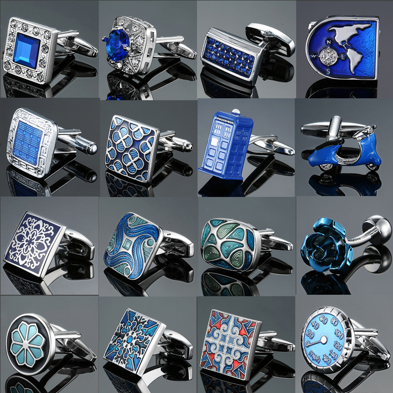 Men's French shirts cufflinks wholesale environmental protection enamel  baking polishing Blue crystal pattern cufflinks(China)