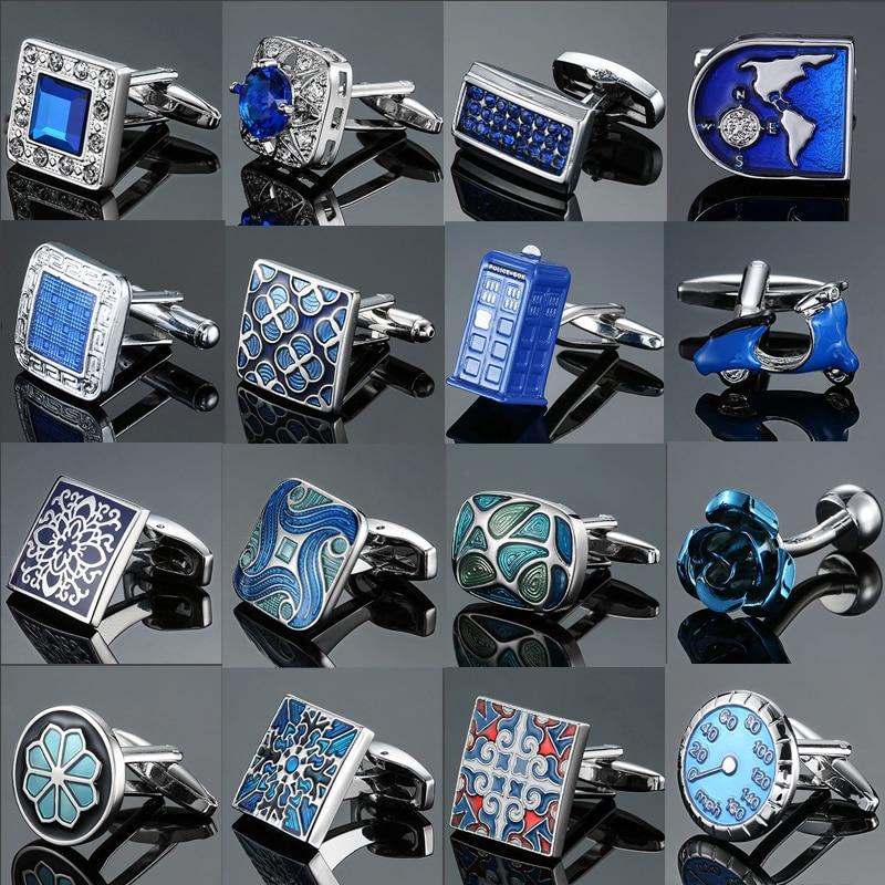 Men's French Shirts Cufflinks Wholesale Environmental Protection Enamel  Baking Polishing Blue Crystal Pattern Cufflinks