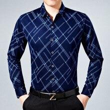 New High Quality 2017 Autumn Business Men's Slim Polyester Fiber Striped Open Stitch Thin Dress Shirts Mens tops clothing B16008