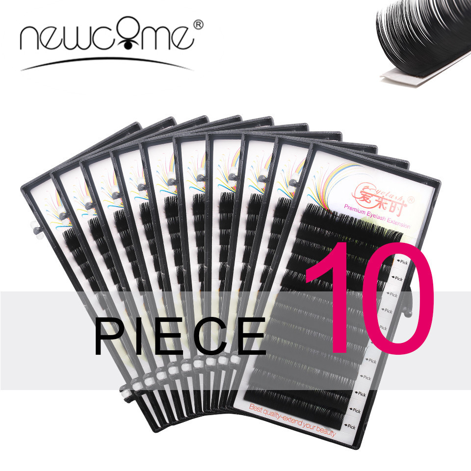 NEWCOME Alle Size Wimpers Extensions 10 Gevallen Wimpers BCD Curl Korea Zijde Individuele Valse Fake Wimper Makeup Tools