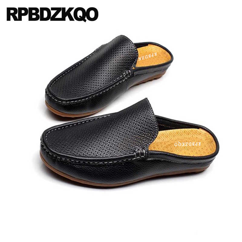 a9987807e934 Outdoor men sandals leather summer slippers black breathable italian  loafers closed toe designer mules slip jpg