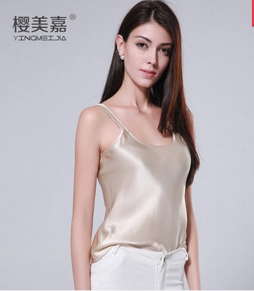 Summer wear the new 100% silk condole belt champagne vest sexy cultivate ones morality silk render unlined upper garment ...