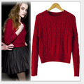 2016 New Autumn Winter Fashion Women's Crochet Floral Short Sweater Casual Pullover Knitted Thick women Sweaters Tops