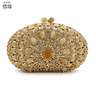 XI YUAN BRAND Luxury GEM Women Clutch Evening Bags Chain Shoulder Bags Female Handbags Party Purses Prom Box Day Clutches bride