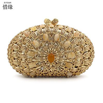 XI YUAN BRAND Luxury GEM Women Clutch Evening Bags Chain Shoulder Bags Female Handbags Party Purses Prom Box Day Clutches bride