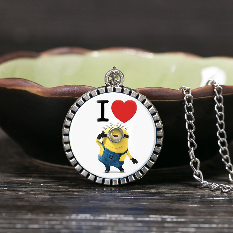 I love MinionsArt Picture Glass Cabochon Necklaces & Pendants Silver Plated Chain Statement Necklaces For Women Black Friday