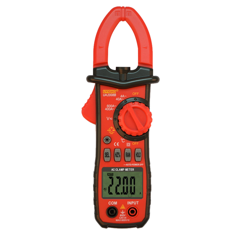 UYIGAO UA2008B Handheld Digital LCD Clamp Meter Multimeter DC/AC Voltage AC Current Resistance Temperature Frequency Duty Ratio  цены