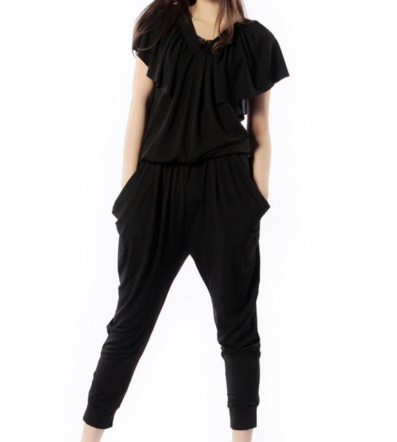 O Envio gratuito de 2017 Nova Moda Macacão Macacões Para As Mulheres Verão harem Pants Preto Solto Plus Size 6XL de Manga Curta Preta calças