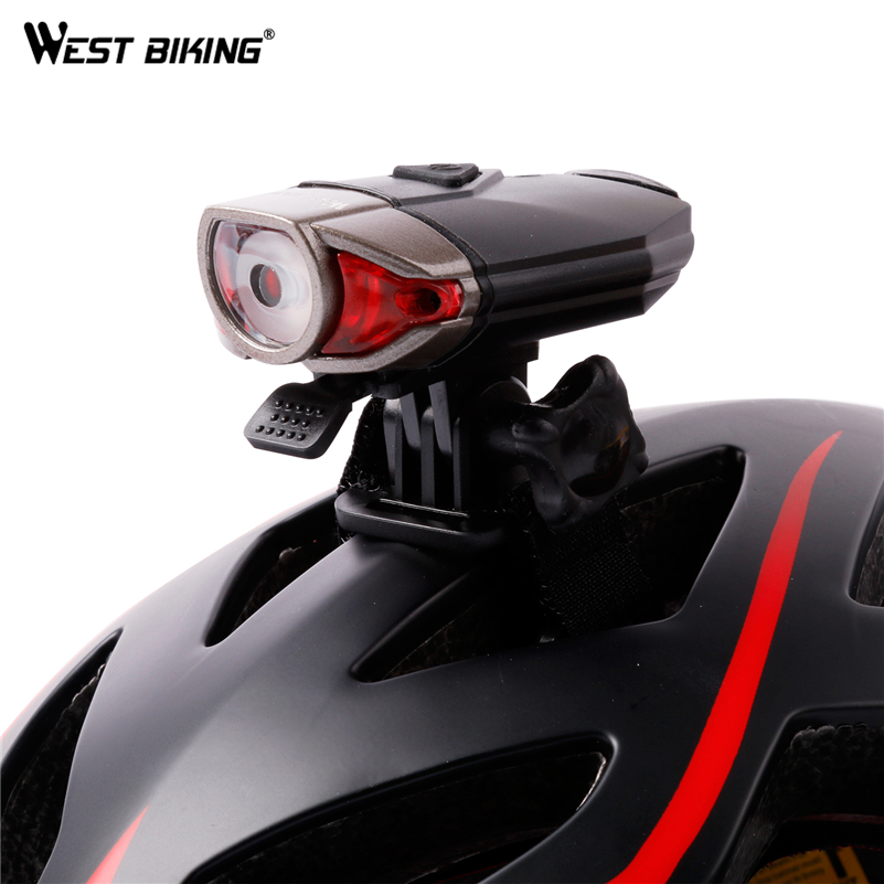 WEST BIKING Cycle USB Rechargeable Front Bicycle Helmet Light Bike LED Handlebar Lamps Bicycle Helmet Safety Flashlight Torch