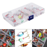 Bobing 30pcs Lot Colorful Assorted Trout Spoon Metal Fishing Lures Spinner Baits Carp Bass Life Like
