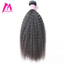 Maxglam Human Hair Weave Bundles Indian Remy Hair Natural Color Kinky Straight Hair Extension Free Shipping(China)