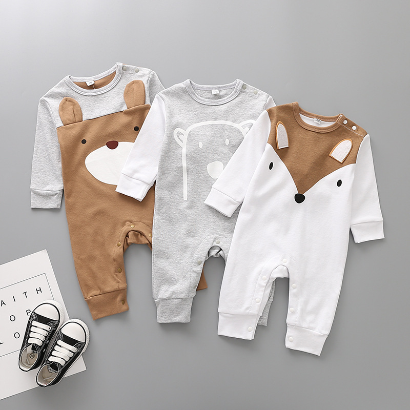 Infant Baby Boys Spring Jumpsuit Cartoon Cotton Long Sleeved Rompers Spring Cute Fox Climbing Clothes Cute Baby Wear Pajamas