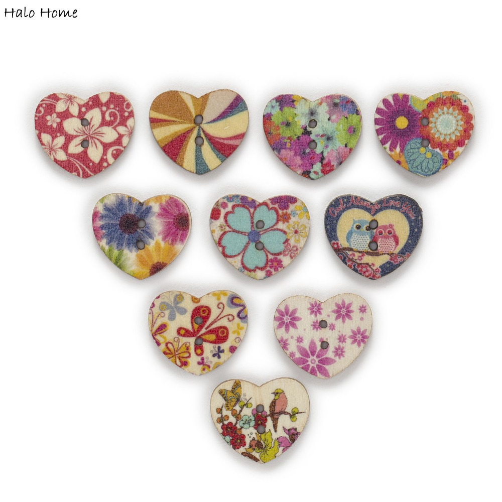 30pcs 2 Hole Lips Wood Buttons Clothing Sewing Scrapbooking Home Decor 34x17mm
