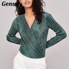 Genuo Long Sleeve Bodysuit Women Sexy V Neck Jumpsuits Black White Green Body Overalls femme monos cortos de mujer 2018