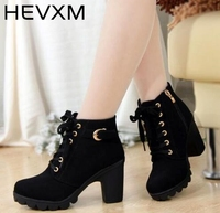 Free Shipping New Autumn And Winter Women Boots Good Quality Solid Lace Up European Ladies Shoes