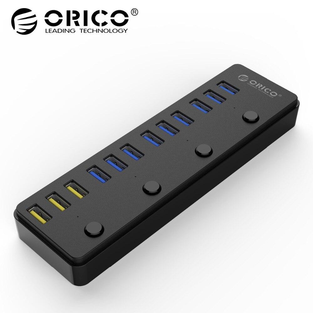 ORICO P12-U3 USB 3,0 концентратор с В 12 В 5A адаптер питания 60 Вт 12 порты с 3 порты и разъёмы BC1.2 зарядки порты Desktop Multi-function 3,0 концентратор