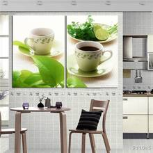 Kitchen Decor Wall Pictures 2 Panel Art Canvas Black Coffee Tea Green Leaf Modern Realist Pictures Fresh And Simple Decorations
