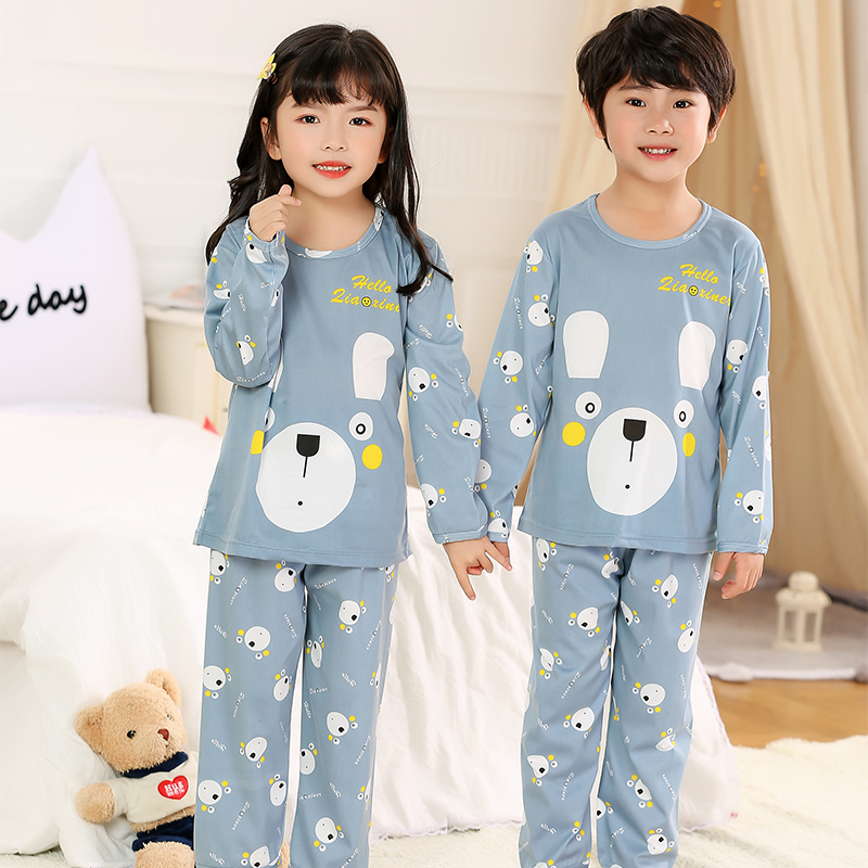 Cartoon Children Long Sleeve Pajamas Boy Girl Spring Summer Sleepwear Baby Nightwear Suit Child Clothes Kids Lovely Pyjamas Set