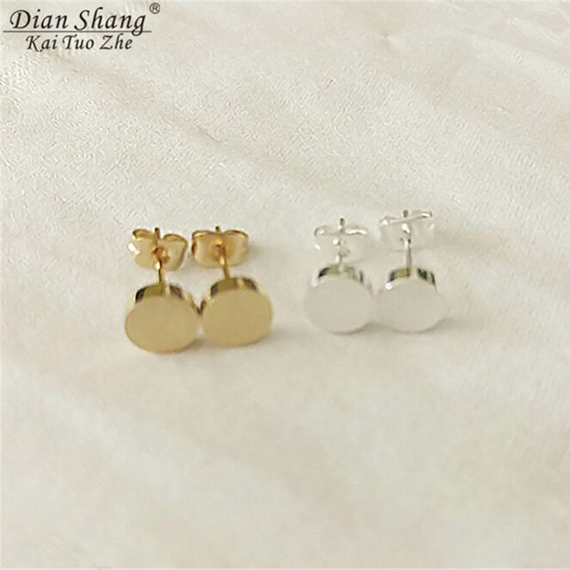 2017 Small Circle Stud Earings Fashion Jewelry Gold Silver Color Brincos Smooth Round Earrings For Women BFF Dainty Boho Jewelry gold earrings for women