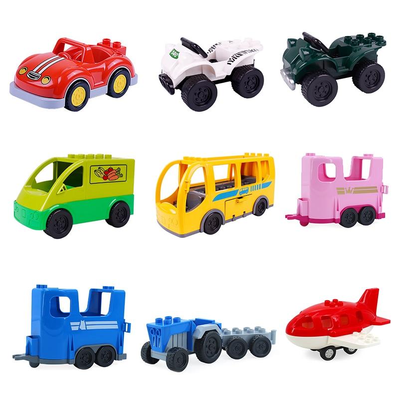 купить Car Set Big Building Blocks jeep Pickup Bus aircraft accessory DIY kid Gift Toys for children Compatible Duplo Vehicle Bricks онлайн