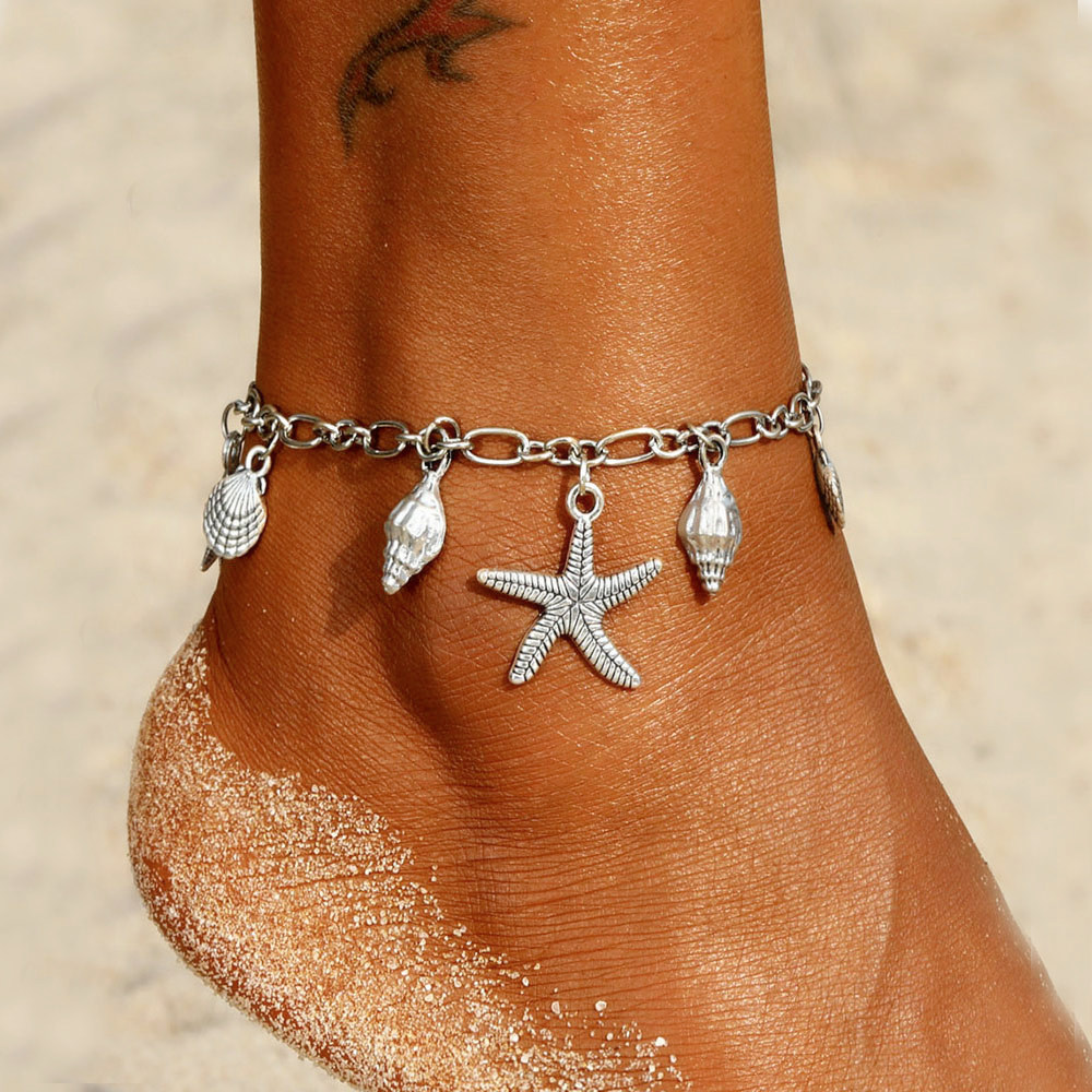 Vintage Starfish Pendant Anklets For Women Bohemian Shell Anklet Bracelets On The Leg Summer Beach Foot Chain Jewelry
