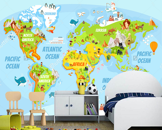 Customized childrens wallpaperCartoon world map with a lot of