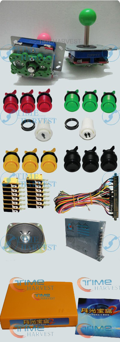 1set Arcade parts Bundles With 400in1PCB,16A Power Supply,L Joystick,Push button,Microswitch,Harness,Speaker for Arcade Machine