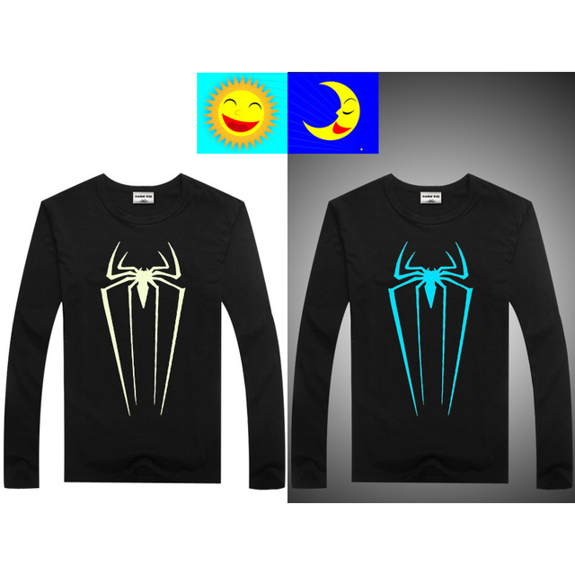 DMDM PIG Spiderman Long Sleeve T-Shirts For Boys Girls Tops Kids Luminous Tshirts Teenage T Shirt Girl Size 10 11 12 13 14 Years