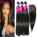 Virgin Brazillian Straight Hair With Closure Unprocessed Hair Lace Closure With Bundles Straight Human Hair Bundles With Closure