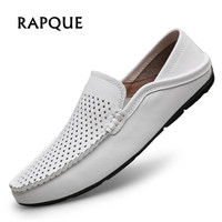 Loafers shoes men leather summer flats mens casual sneakers shoes adult mesh breathable holes light drop shipping 38 47 RAPQUE