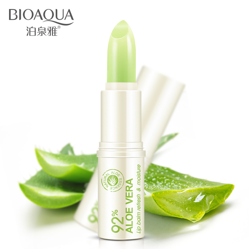 BIOAQUA Natural Aloe Moisturizing Lip Balm Colorless Refine repair lip wrinkles For Woman Winter Lip Care Free shipping