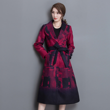 Wool coat temperament ladies 2016 winter clothing new long thin strap printing wool coat