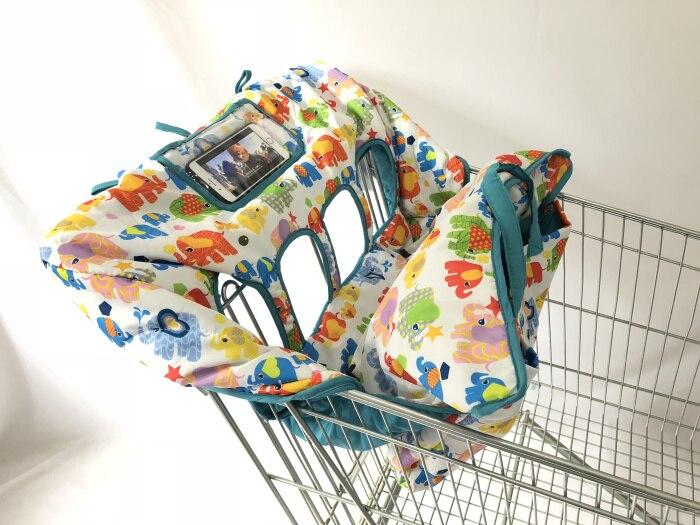 Двойная корзина для покупок для близнецов или детей. Гарантированно подходит для оптовых складских продуктовых магазинов. Такие как Costco - Цвет: Elephant with cover