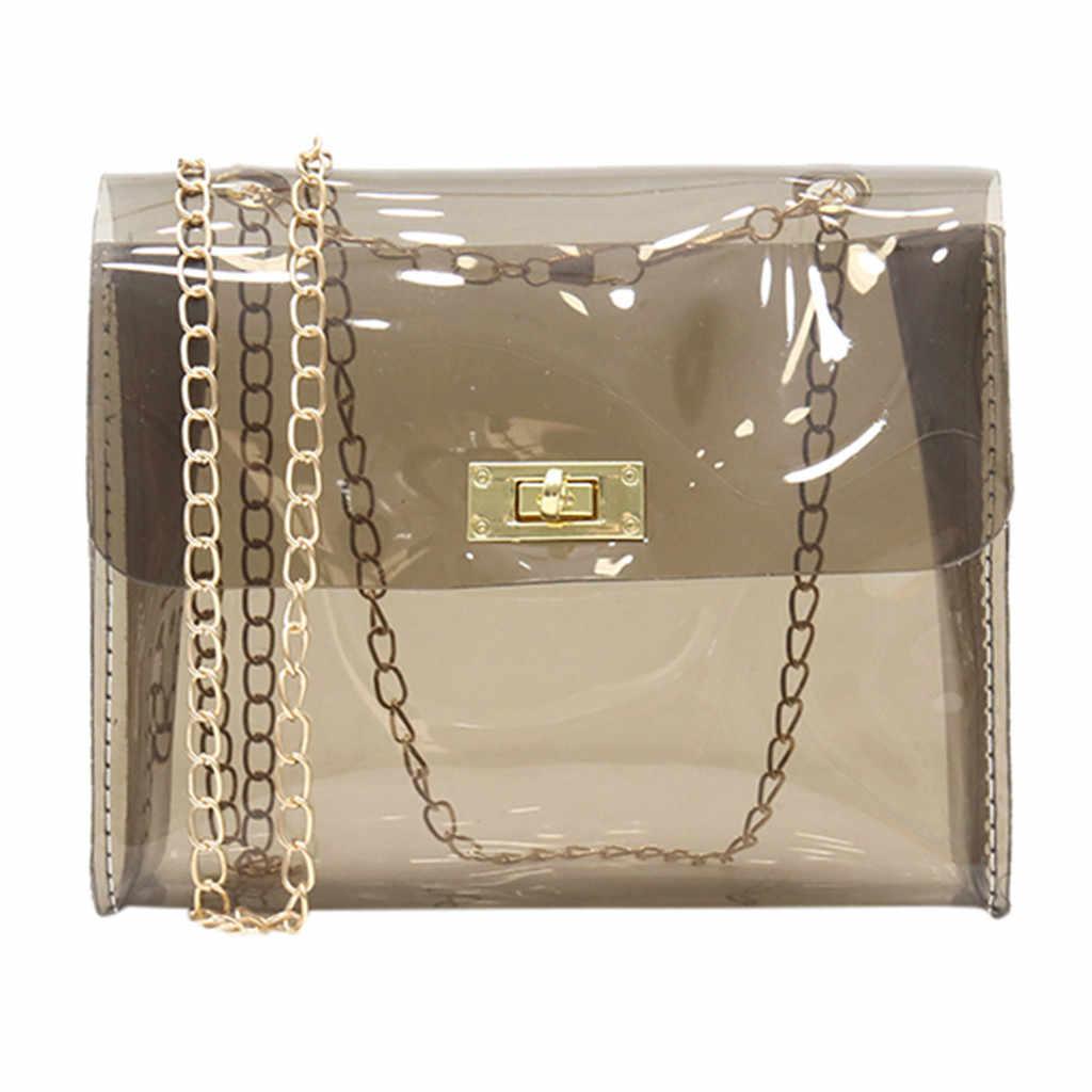 Fashion Wanita Transparan Bahu Casing Jelly Messenger Bag Warna Solid Tas Bahu Selempang Tas Famale Tas Mujer