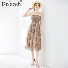 Delocah Women Spring Summer Dress Runway Fashion Sleeveless Pleated Floral Printed Mesh Overlay Elegant Vintage Vacation Dresses