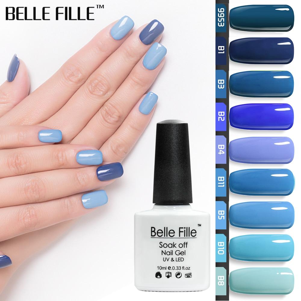 BELLE FILLE Blue Series Colors UV Gel Nail Polish 10ml Soak Off ...