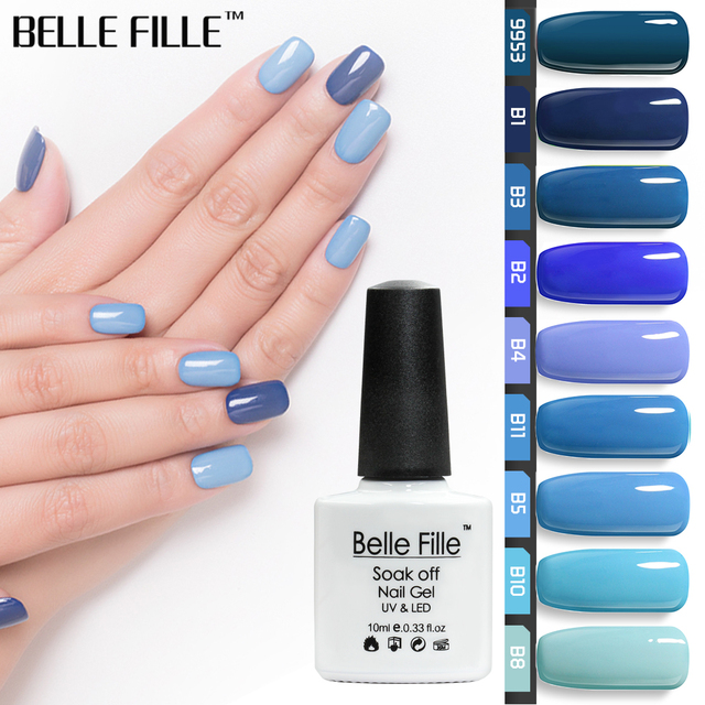 a6a354bbd43 BELLE FILLE Blue Series Colors UV Gel Nail Polish 10ml Soak Off Polish  Lacquer Nails Art
