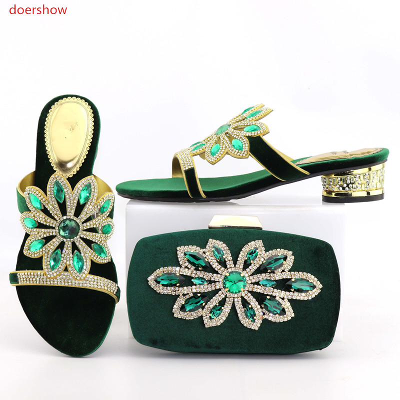 doershow African Women Matching Italian green Shoe and Bag Set for Wedding Italian Shoes with Matching Bags Italy Shoes  DA1-13 2016 fashion women italian matching shoe and bags set with rhinestones high quality african wedding shoes and bag mvb1 19