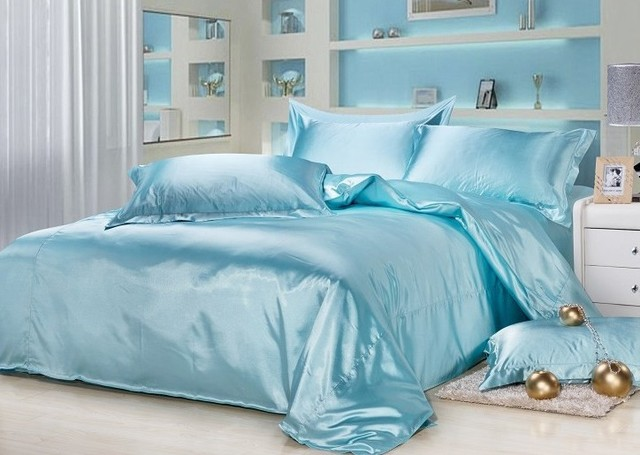 7pcs Aqua Blue Silk Bedding Sets Satin Sheets California King Queen Full  Twin Size Duvet Cover