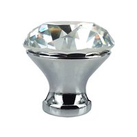 10pcs 30mm Crystal Glass Diamond Shape Cabinet Knob Drawer Pull Handle Kitchen With Screw Silver