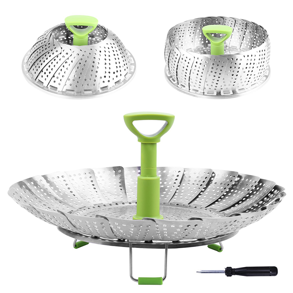 Folding Steamer Bowl Vegetable And Fruit Steamer Stainless Steel Steamer Steaming Drawer Kitchen