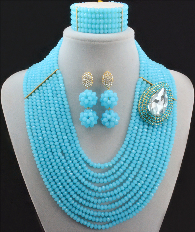 African Beads Jewelry Set Crystal Beads Necklace Set African Jewelry Set Crystal Jewelry Set 10009 set peperuna set