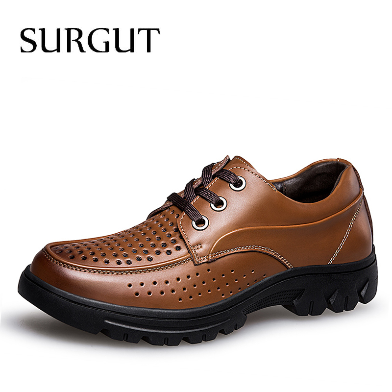 SURGUT New Style Summer Hollow Breathable Genuine Leather Shoes Men s Business Dress Oxford Shoes Fashion