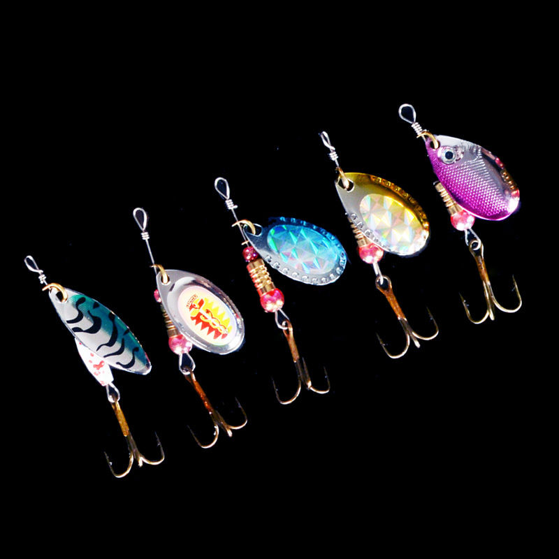 hot sale 5pcs Spinner Fishing Lures Fishing spinner Tackle paillette spoon Lures Mix Color/size hot sale 80cm long strangth mix color