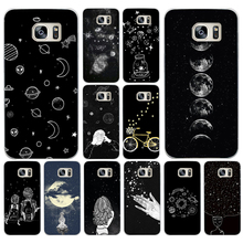 225AA sky Space planet Black and white Hard Transparent Cover Case for Samsung Galaxy S4 S5 Mini S6 S6 S8 S9 edge plus S7 Edge