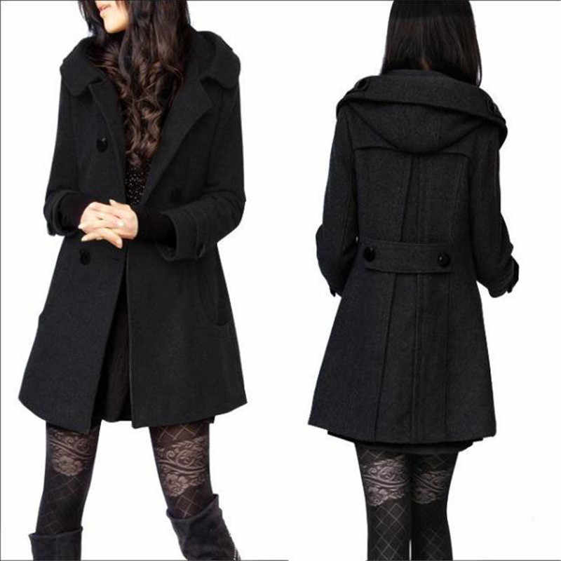 Large size S-4XL women wool coat autumn winter new Double-breasted mediun long jacket Slim hooded female woolen outerwear DT0139