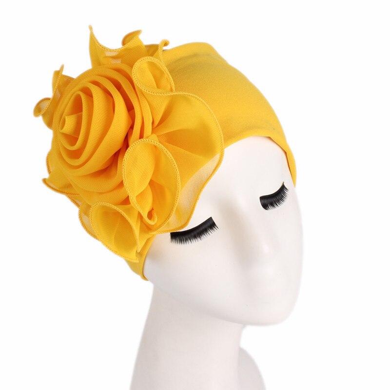 Women Stretchy Beanies Big Flower Hair Loss Cap African Turban Boho Head Wrap Hijab Wedding Party Cap Turbante mujer Accessories beanie