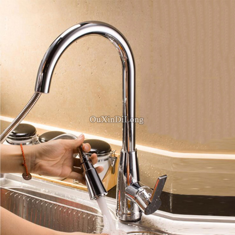 Luxury European Brass Hot & Cold Mixer Kitchen Swivel Spout Single Handle Sink Faucet Pull-Out Spray Mixer Tap Chrome Finished wanfan modern polished chrome brass kitchen sink faucet pull out single handle swivel spout vessel sink mixer tap lk 9906