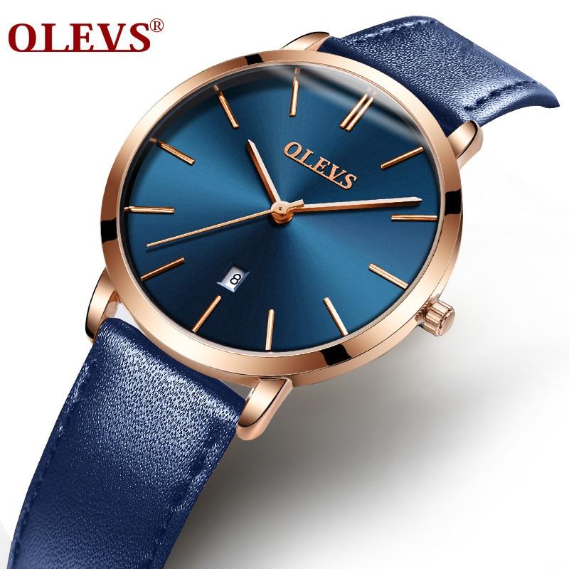 OLEVS Mode Étanche Montre Femmes Horloge Montre-Bracelet Ultra Mince Cadran Quartz Bracelet En Cuir Dames Montres Automatiques Cadeaux F5869